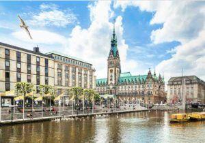 Blick auf Stadt Hamburg